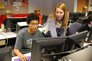 Teens in a computer lab.